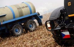 tjeckiska bönder mjölkar protest Royaltyfri Bild