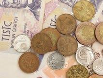 Tjeckiska korunamynt och anmärkningar Royaltyfri Fotografi