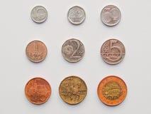Tjeckiska korunas myntar Fotografering för Bildbyråer