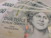 2000 tjeckiska korunasedlar Arkivfoto