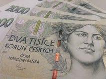 2000 tjeckiska korunasedlar Arkivbild