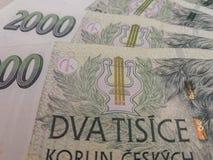 2000 tjeckiska korunasedlar Fotografering för Bildbyråer