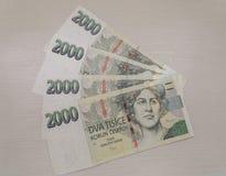 2000 tjeckiska korunasedlar Arkivbilder