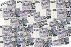 5000 tjeckiska korunor sedlar Arkivfoton