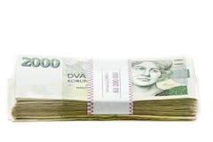 Tjeckiska kronor för sedelnominellt värde ett och tvåtusen Arkivbild