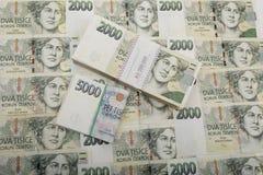 Tjeckiska kronor för sedelnominellt värde ett och tvåtusen Royaltyfria Bilder