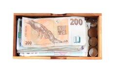 Tjeckiska pengar och hus Fotografering för Bildbyråer