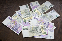 Tjeckiska pengar, tjeckkronor Arkivfoto