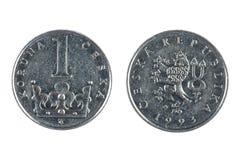 Tjeckiskt mynt Fotografering för Bildbyråer