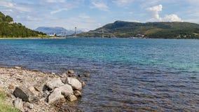 Tjeldsund Bridge, Norway. It crosses the Tjeldsundet between the stock photography