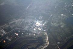 Tjernobyl kärnkraftverk från fågels en sikt för öga, Tjernobyl, Ukraina, 09 08 2017 Arkivfoto