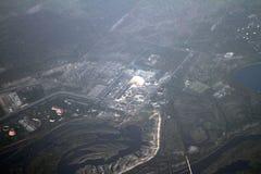 Tjernobyl kärnkraftverk från fågels en sikt för öga, Tjernobyl, Ukraina, 09 08 2017 Arkivbild