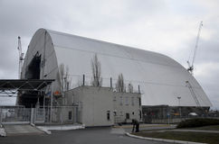 Tjernobyl UKRAINA - December 14, 2015: Tjernobyl kärnkraftverk Arkivfoto