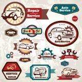 Tjänste- retro emblem för bil Arkivbild