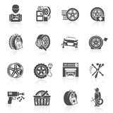 Tjänste- symbolssvart för gummihjul Royaltyfri Foto