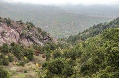 Tjock dimma i bergen och kullen över av vulkanisk lava Arkivbild