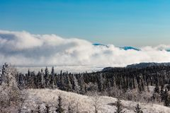 Tjock dimma som stiger från sjön Laberge Yukon Kanada royaltyfria foton