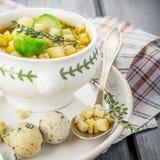 Tjock puré för grönsaksoppa med Bryssel groddar arkivfoton