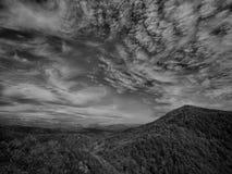 Tjock skog i en grön dal med kraftledningar Korkade berg för snö som är synliga på horisonten dramatisk sky arkivfoto