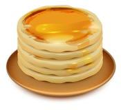 Tjocka pannkakor med honung på plattan Bunt av pannkakor royaltyfri illustrationer