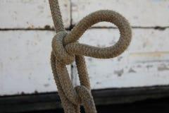 Tjockt rep som binds med öglan Royaltyfria Foton