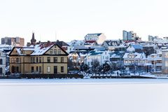 Tjornin Lake view during winter. Which is a prominent small lake in central Reykjavik, the capital of Iceland stock image