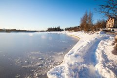 Tjornin Lake view during winter. Which is a prominent small lake in central Reykjavik, the capital of Iceland royalty free stock image