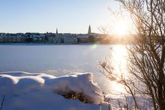 Tjornin Lake view during winter. Which is a prominent small lake in central Reykjavik, the capital of Iceland royalty free stock images