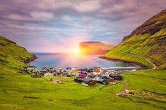 Tjornuvik – beautiful town in the Faroe Islands, sit on the north coast of Streymoy, Faroe Islands, Denmark. Tjornuvik beautiful town in the Faroe Islands stock images
