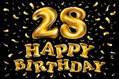 Tjugoåtta år födelsedagberömlogotyp 28th årsdaglogo med konfettier och den guld- cirkeln som isoleras på svart bakgrund Royaltyfri Foto