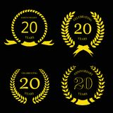 Tjugo år guld- krans för årsdaglager - 20 stock illustrationer