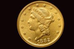 Tjugo dollar guld- mynt från 1882 Arkivfoto