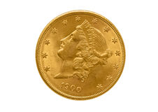 Tjugo dollar guld- mynt från 1900 Arkivfoto