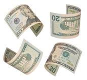 Tjugo dollar räkningar Arkivbild