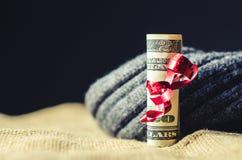 Tjugo dollar som slås in i ett rött band Royaltyfria Foton