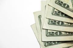 Tjugo 20 dollarräkningar Fotografering för Bildbyråer