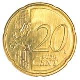 Tjugo eurocent mynt Fotografering för Bildbyråer