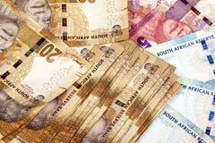 Tjugo femtio och hundra Rand South African Bank Notes Royaltyfria Bilder