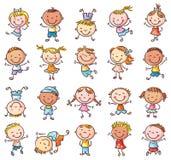 Tjugo knapphändiga lyckliga ungar som hoppar med glädje stock illustrationer
