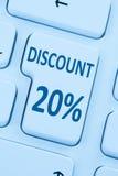 20% tjugo procent shopping I för försäljning för rabattknappkupong online- Arkivbilder