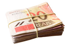 Tjugo reais - brasilianska pengar Royaltyfri Fotografi