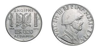 Tjugo Vittorio Emanuele III för 20 cent LEK Albania Colony acmonital mynt 1939 kungarike av Italien, världskrig II Arkivfoto
