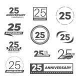 Tjugofem år årsdagberömlogotyp 25th årsdaglogosamling vektor illustrationer