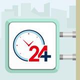 Tjugofyra timmar tillgänglig medicinsk hjälp med klockor Skyltbegrepp Royaltyfri Fotografi