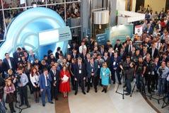 Tjumen', Russia, 09 07 2016 Forum delle tecnologie innovarici Scienziati, politici ed uomini d'affari di comunicazione fotografie stock libere da diritti