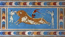 Tjur-hoppa freskomålningen, Knossos slott, Kreta, Grekland Fotografering för Bildbyråer