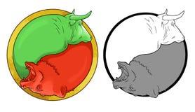 Tjur och björn Arkivbilder