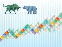 Tjur- och björnekonomi vektor illustrationer