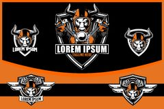 Tjurcyklist med mallen för logo för emblem för hjälmmotorcykelvektor stock illustrationer