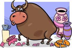 Tjuren i ett porslin shoppar tecknade filmen Royaltyfri Foto